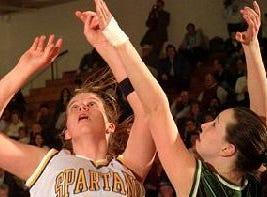 1997: Maine-Endwell's Meghan Frey, left, battles Corning West's Kaleen Goodman for a rebound