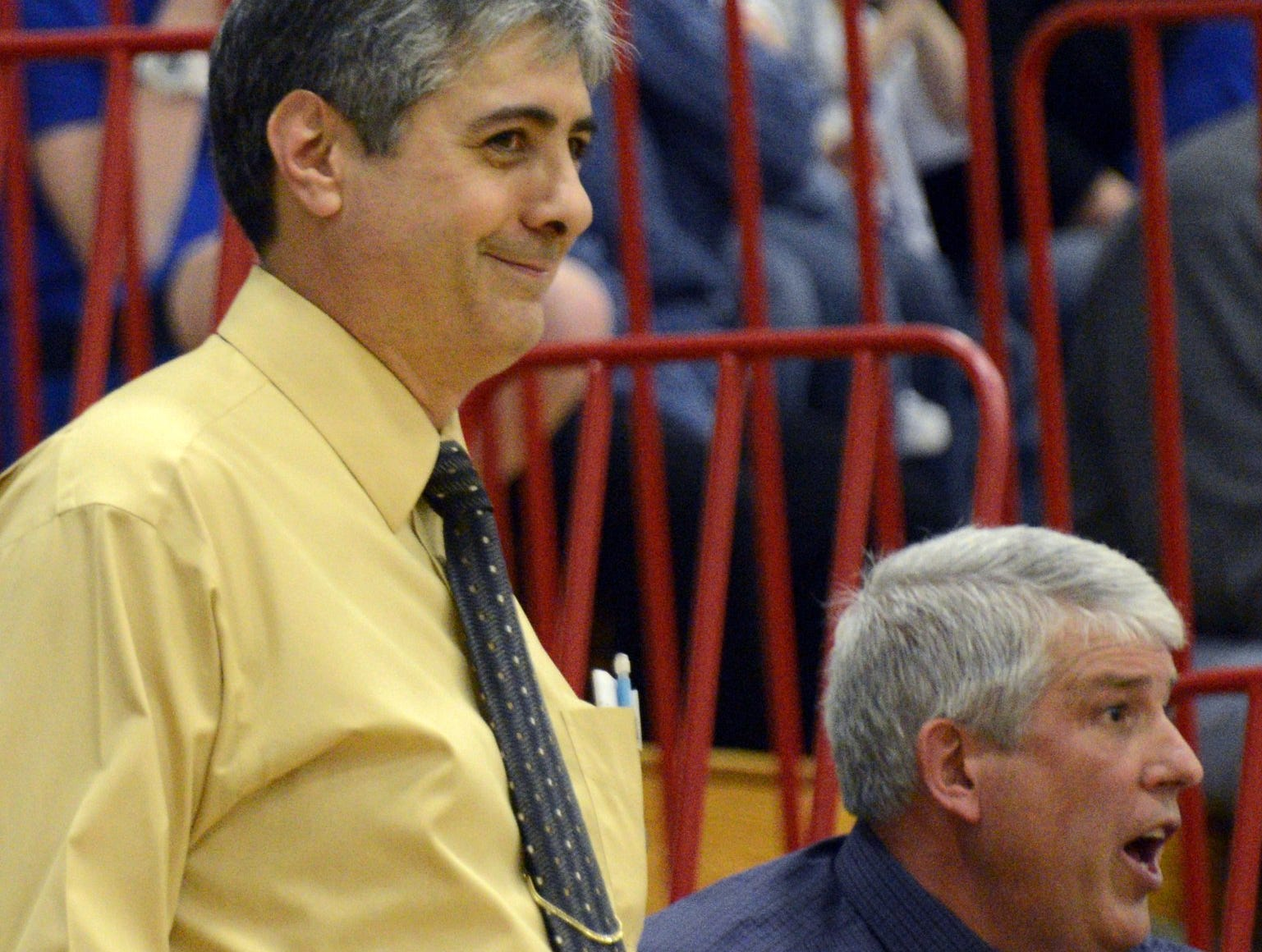 2013: Maine-Endwell coach Sonny Spera smiles during his team's victory against Walkill in last weekend.