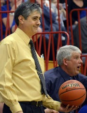 Union-Endicott graduate Sonny Spera, seen here smiling as the Maine-Endwell girls basketball team he coached in 2013 wins a state playoff game against Walkill, will be honored by alma mater Syracuse University on Nov. 1.