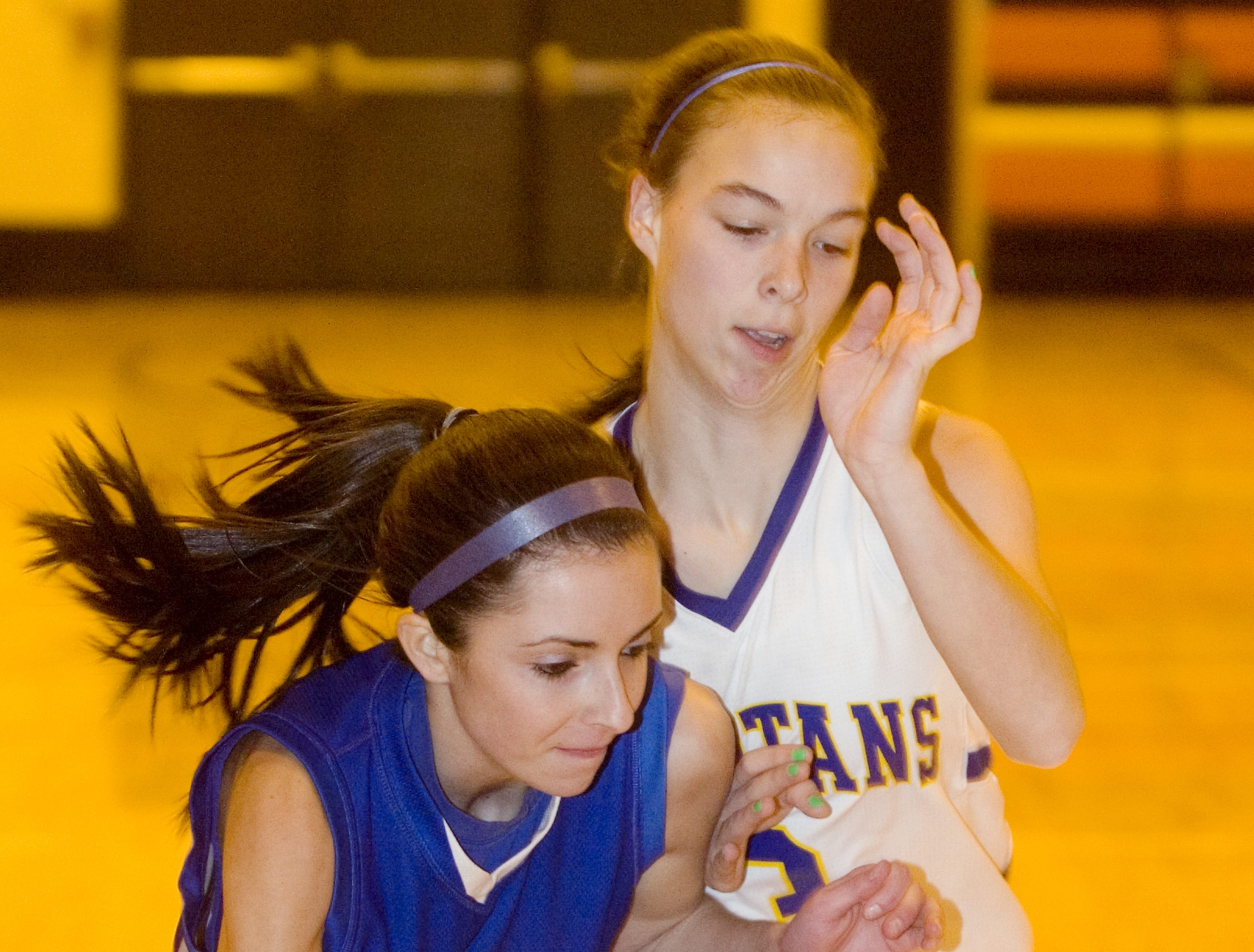 2010: Maine-Endwell's Kelsey Gustafson, right, defends against Horseheads' Anna Wicks in the first quarter of Tuesday's game at Union-Endicott High School.