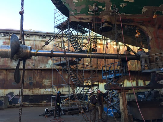 The ferry Wenatchee has been in dry dock this week as crews work to repair damage caused by a crab pot line.