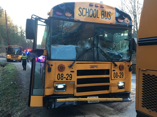 A North Kitsap school bus collided with another bus March 5, 2019, on Miller Bay Road. No one was injured.