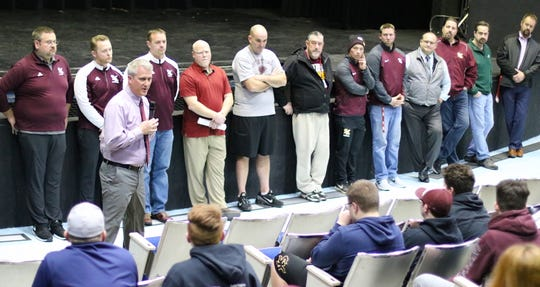 South Kitsap football head coach Dan Ericson speaks to his audience after introducing his coaching staff during a meet-and-greet at the high school Tuesday.