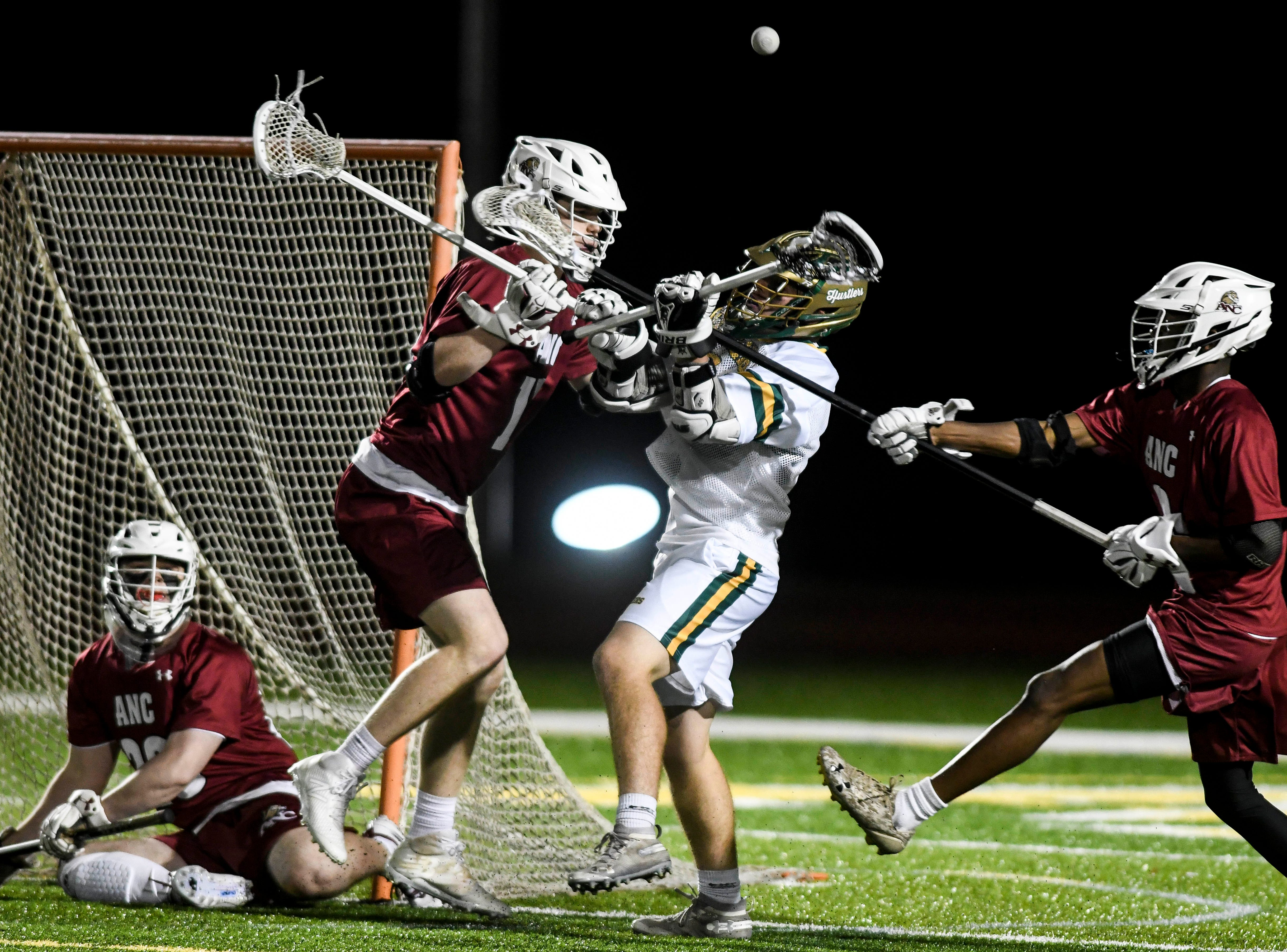 Sam Johnson of Melbourne Central Catholic loses the ball as he approaches the Lions goal during Tuesday's game in Melbourne.