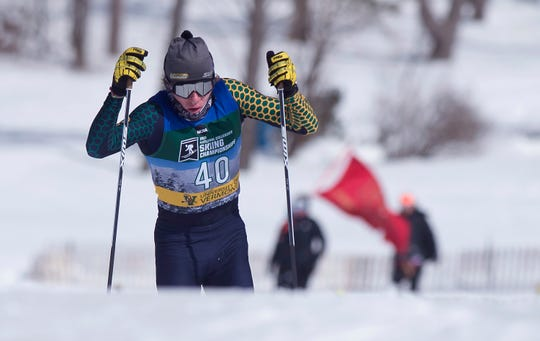 Vermont's Ben Ogden crests a ridge during the men's 10K freestyle at the 2019 NCAA ski championships in Stowe on Wednesday, March 6, 2019.