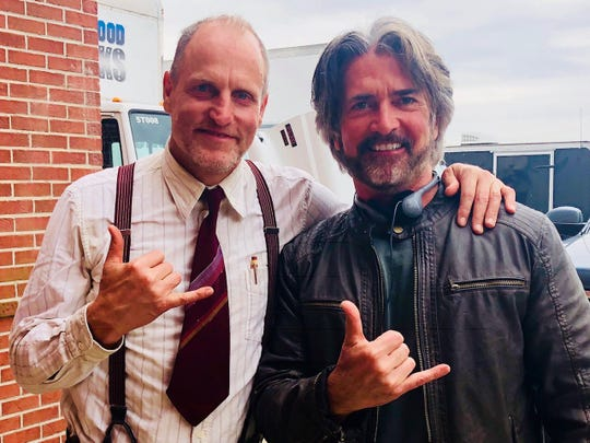 """Actor Woody Harrelson and Morristown screenwriter John Fusco on the set of """"The Highwaymen,"""" a Netflix film to be released March 29."""