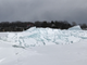 A ridge of ice, some of it 8 feet high, rises off the Colchester shore of Lake Champlain on Wednesday, March 6, 2019.