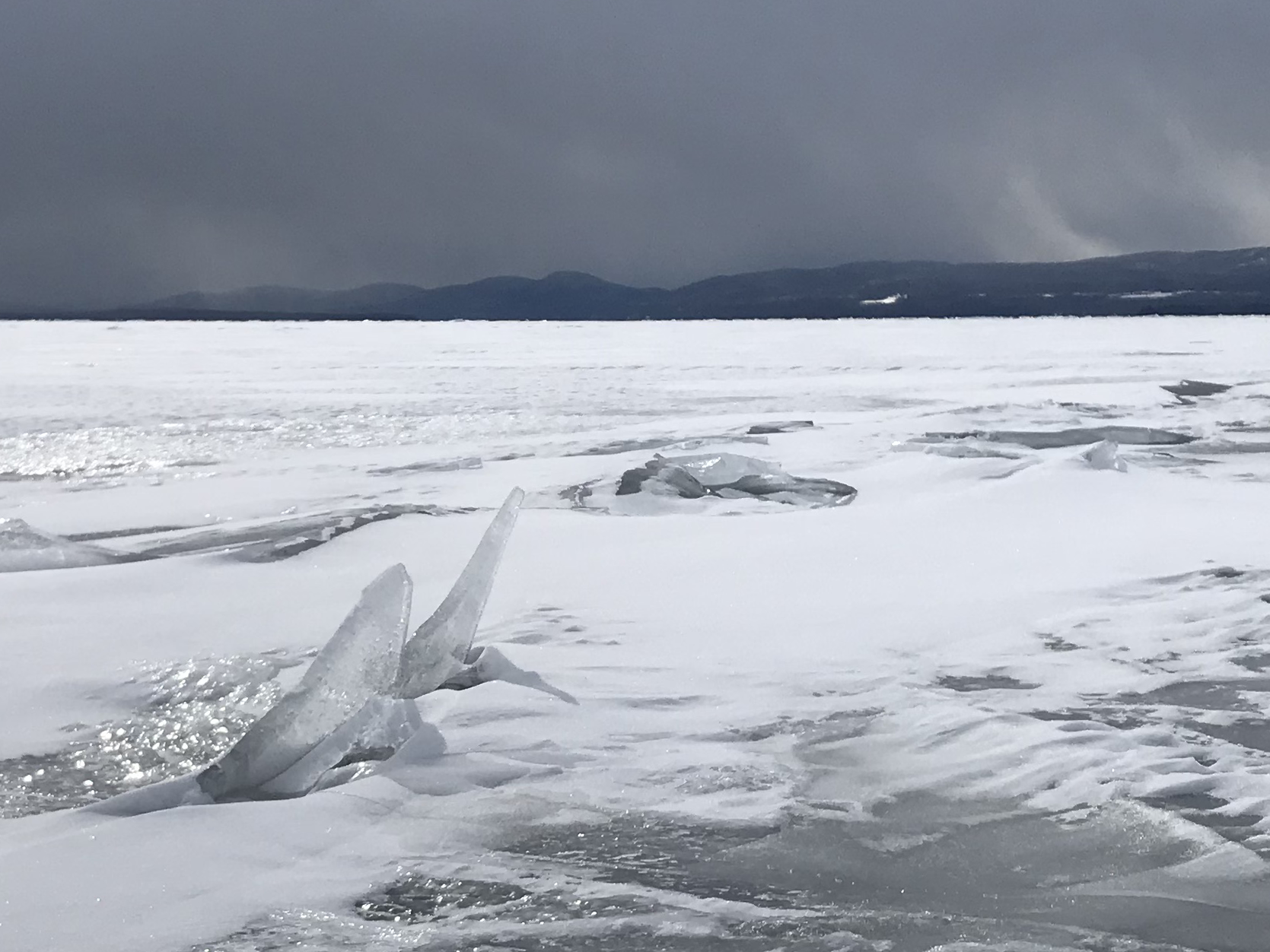 "Uplifted ice forms ""rubble"" on Lake Champlain west of Colchester on Wednesday, March 6, 2019."