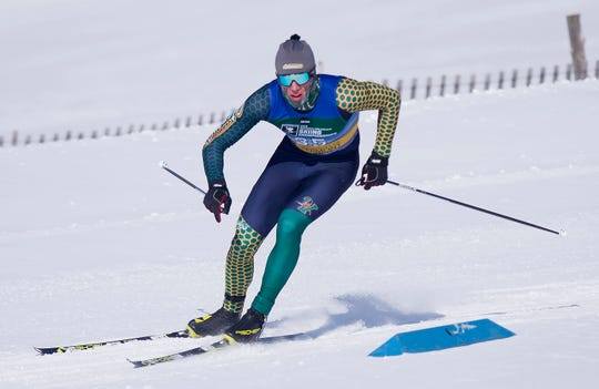 Vermont's Bill Harmeyer rounds a bend during the men's 10K freestyle at the 2019 NCAA ski championships in Stowe on Wednesday, March 6, 2019.