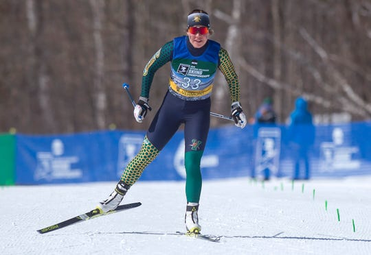 Vermont's Lina Sutro bears down on the finish line in the women's 5K freestyle at the 2019 NCAA ski championships in Stowe on Wednesday, March 6, 2019.