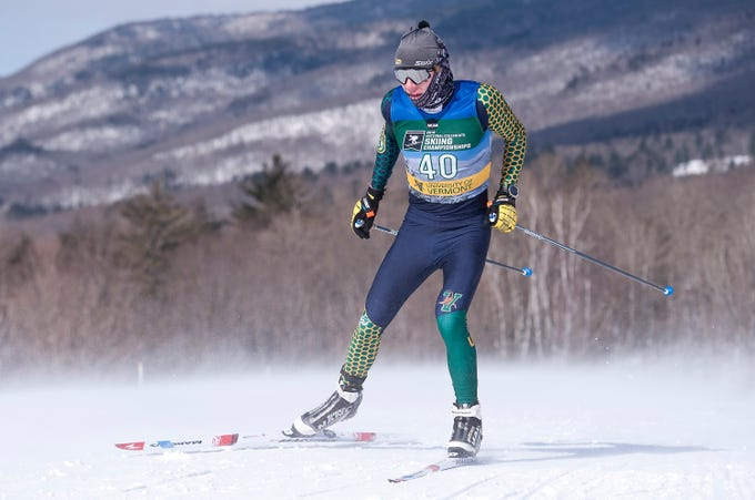 The University of Vermont's Ben Ogden skates up a hill during the men's 10K freestyle at the 2019 NCAA ski championships in Stowe on Wednesday, March 6, 2019.