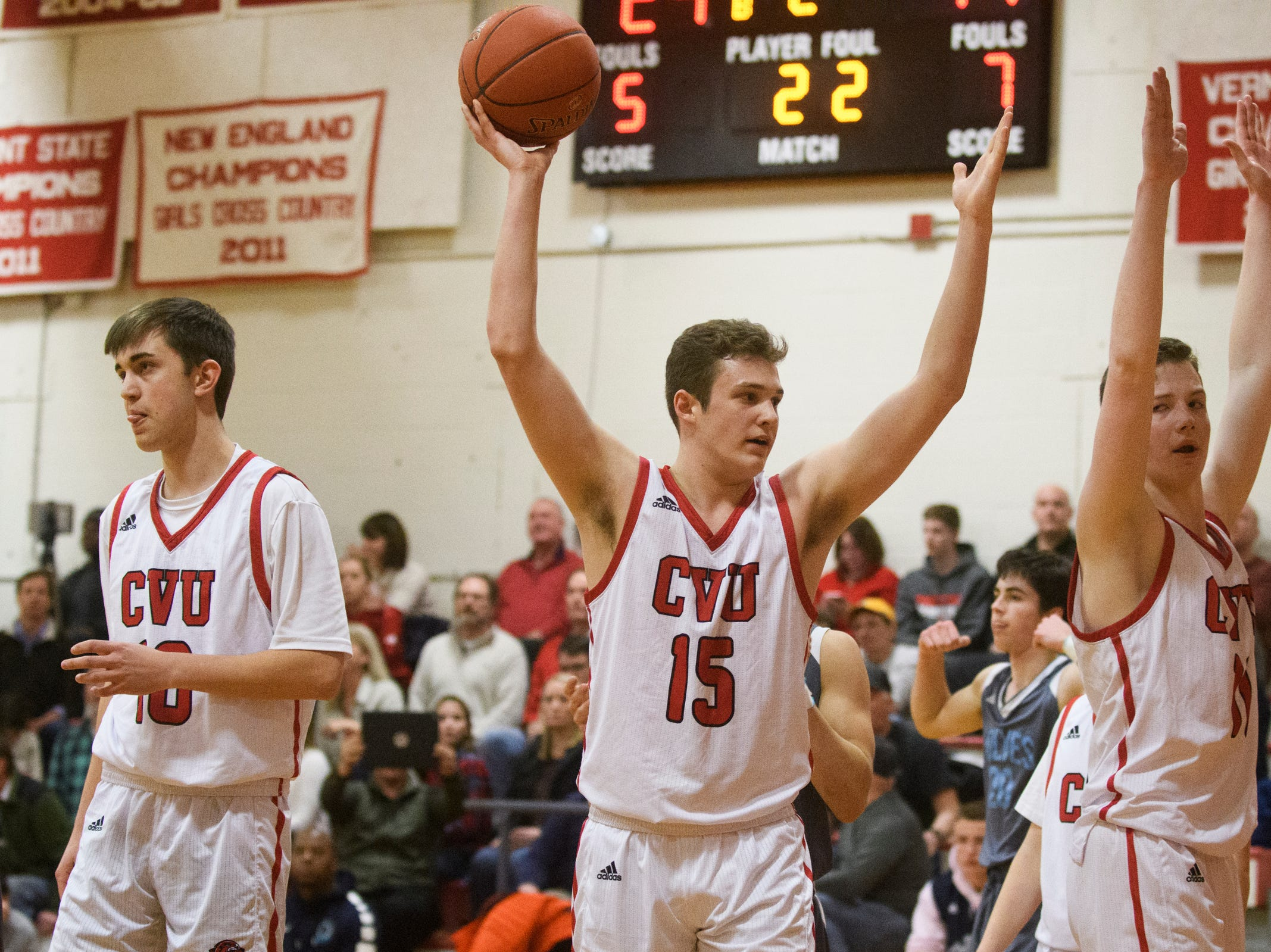 CVU's Bennett Cheer (15) and Cole Otley (11) react after a foul call during the boys basketball game between he South Burlington Wolves and the Champlain Valley Union Redhawks at CVU High School on Tuesday night March 5, 2019 in Hinesburg, Vermont.