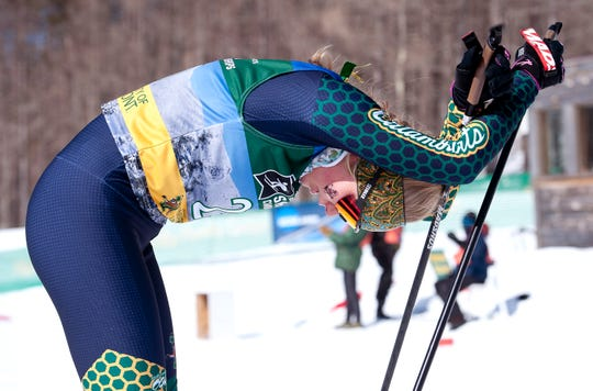Vermont's Margie Freed catches her breath afte the women's 5K freestyle during the 2019 NCAA ski championships in Stowe on Wednesday, March 6, 2019.
