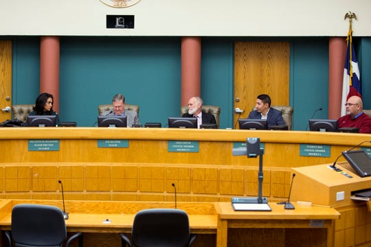 City council members attend a special city council meeting on Wednesday, March 6, 2019. During the meeting, the city council went into executive session to discuss the hiring of a city manager and then proceeded to announce the names of six individuals who they are requesting more information about with regards to the position.