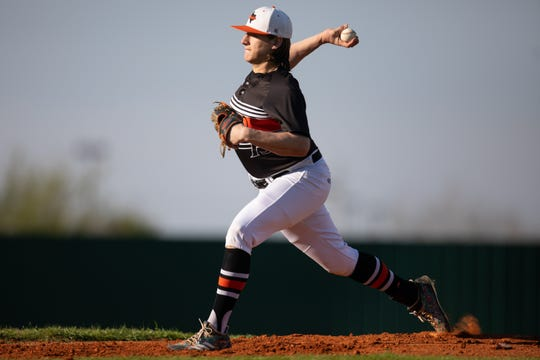 Refugio's Jared Kelley throws a pitch during the first inning of their game against Agua Dulce's at the Fairgrounds Field, in Robstown on Tuesday, March 5, 2019.