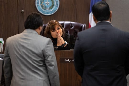 State District Judge Inna Klein hears arguments during a hearing for Corpus Christi police officer Tommy Cabello on his relationship with Norma DeLeon, Wednesday, March 6, 2019.  DeLeon is another officer who is accused of posing as a CPS worker.