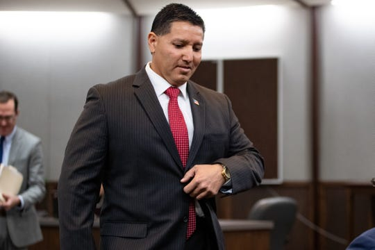 Former Corpus Christi police officer Tommy Cabello, who is accused of family violence, appears in 214th District Judge Inna Klein's court for a hearing on his relationship with Norma DeLeon on Wednesday, March 6, 2019.  DeLeon is another officer who is accused of posing as a CPS worker.