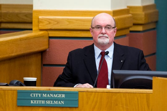 Interim City Manager Keith Selman attends a special city council meeting on Wednesday, March 6, 2019. During the meeting, the city council went into executive session to discuss the hiring of a city manager and then proceeded to announce the names of six individuals who they are requesting more information about with regards to the position. Selman is one of those individuals.