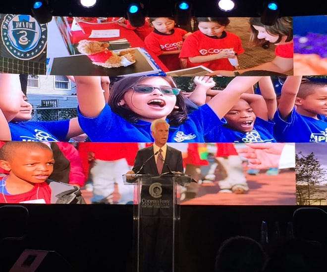 George Norcross addresses the Cooper's Ferry Partnership Annual Meeting Tuesday at the BB&T Pavilion in Camden.