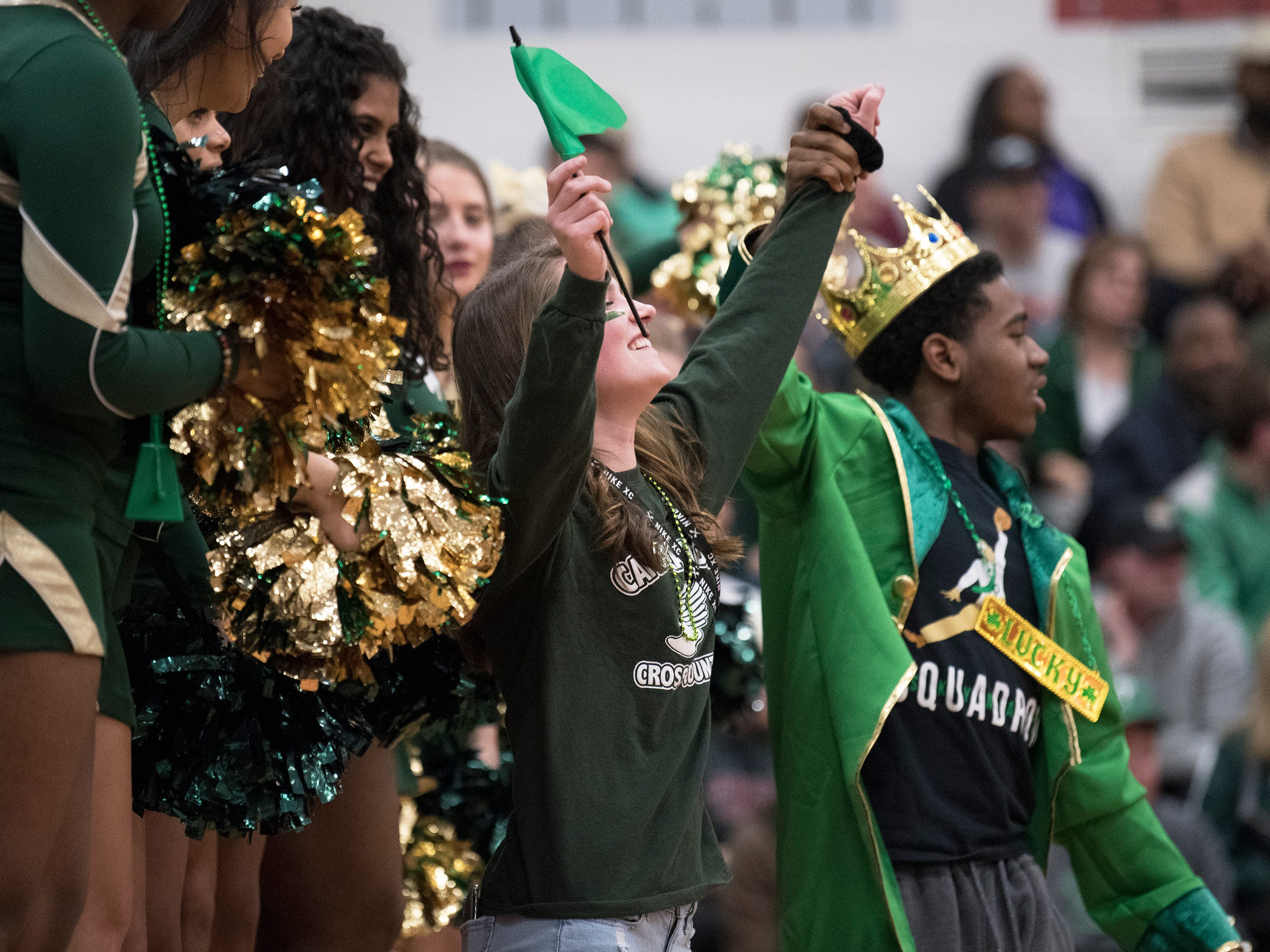 Camden Catholic fan celebrate during the 4th quarter as Camden Catholic defeated Paul VI, 40-34, in the Non-Public A South boys basketball final played at Jackson Liberty High School on Tuesday, March 5, 2019.