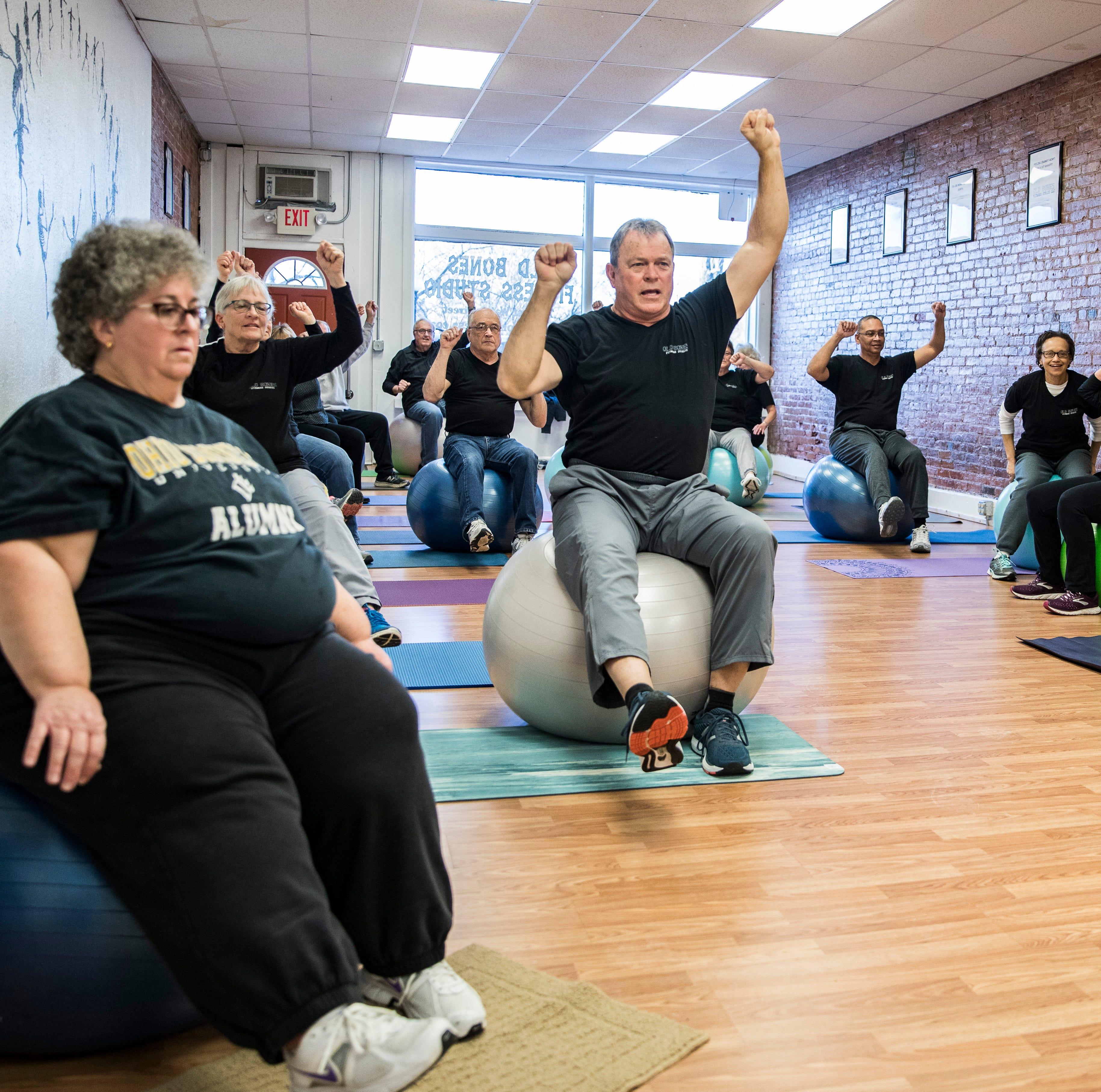 Downtown fitness studio strengthening old bones