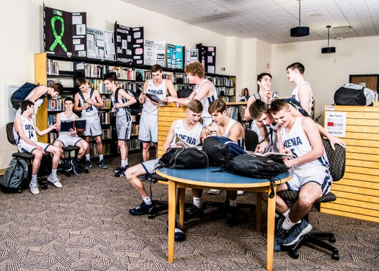 The Warriors are looking to start a new chapter in Adena history as they are aiming to defeat Chesapeake at Ohio University's Convo on Saturday, March 9, 2019, in Athens Ohio. Saturday's game will be the first time since 2006 the Warriors have competed in a district final and would be the first time since 1980 if they win. 2018-2019 Adena varsity team: Nate Throckmorton, Zach Fout, Jarrett Garrison, Ethan Kunkel, Dylan Gallaugher, Logan Bennett, Preston Sykes, Dylan McDonald, Caleb Foglesong, Brandon Smith, Clay Wilt, Jacob Shipley, and Cody Rawlings. Photo taken inside the Adena library.