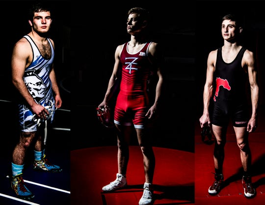 (L-R) Adena's Dalton Metzger, Zane Trace's Jordan Hoselton, and Westfall's Chanston Moll hope to prove themselves at the state wrestling tournament in Columbus, Ohio, starting Thursday, March 7, 2019.