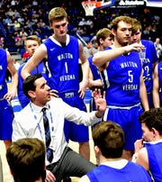 Coach Grant Brannen directs his Bearcats during a time out for Walton Verona at the KHSAA Sweet 16 Tournament at Rupp Arena in Lexington, KY, March 6, 2019