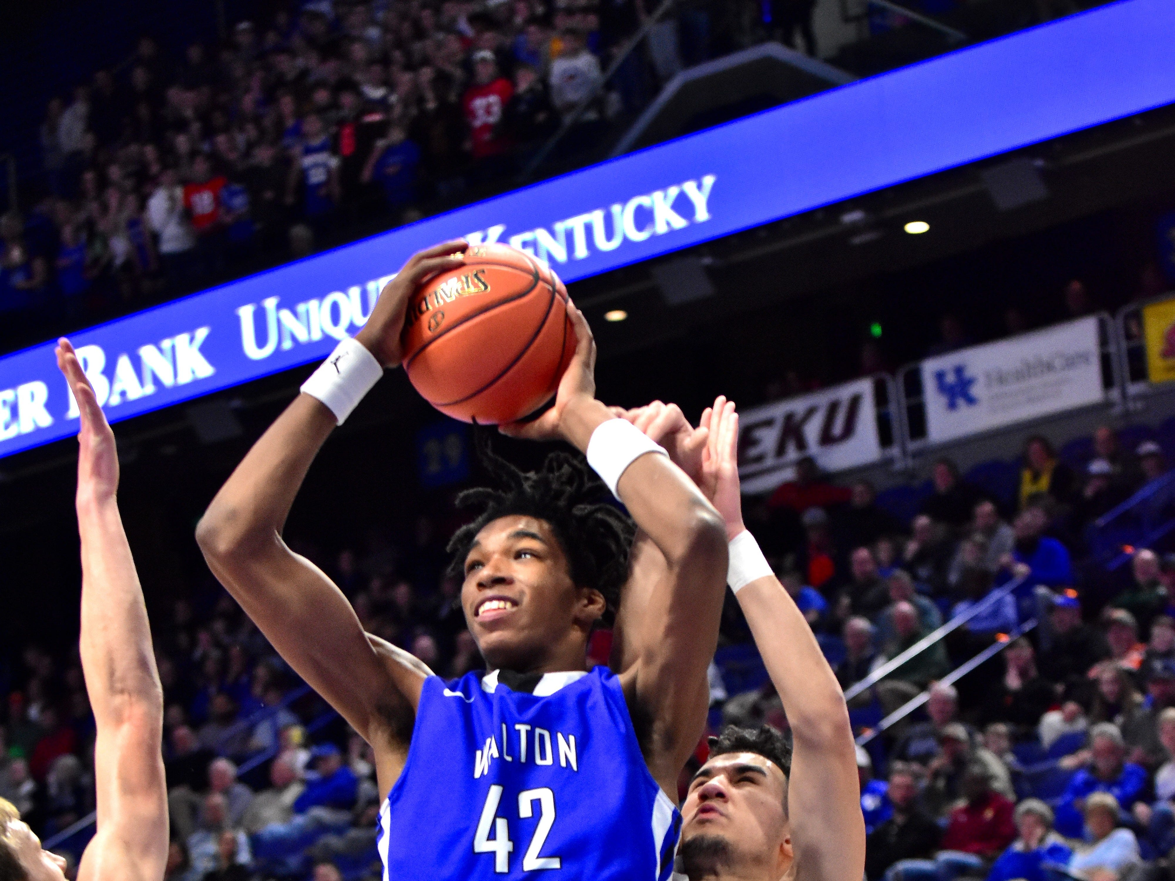 Walton Verona's Dieonte Miles eyes points for the Bearcats at the KHSAA Sweet 16 Tournament at Rupp Arena in Lexington, KY, March 6, 2019