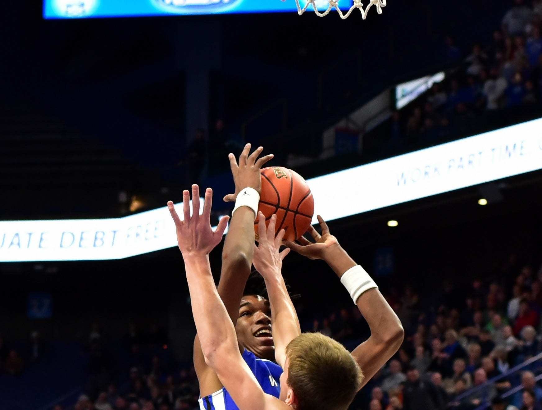 Dieonte Miles pushes up a jump shot for Walton Verona at the KHSAA Sweet 16 Tournament at Rupp Arena in Lexington, KY, March 6, 2019