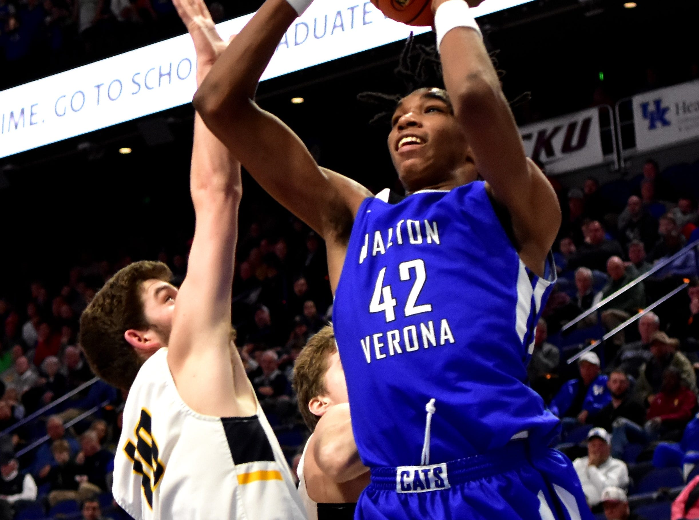 Dieonte Miles sees more point production for Walton Verona as they move on to second round action at the KHSAA Sweet 16 Tournament at Rupp Arena in Lexington, KY, March 6, 2019