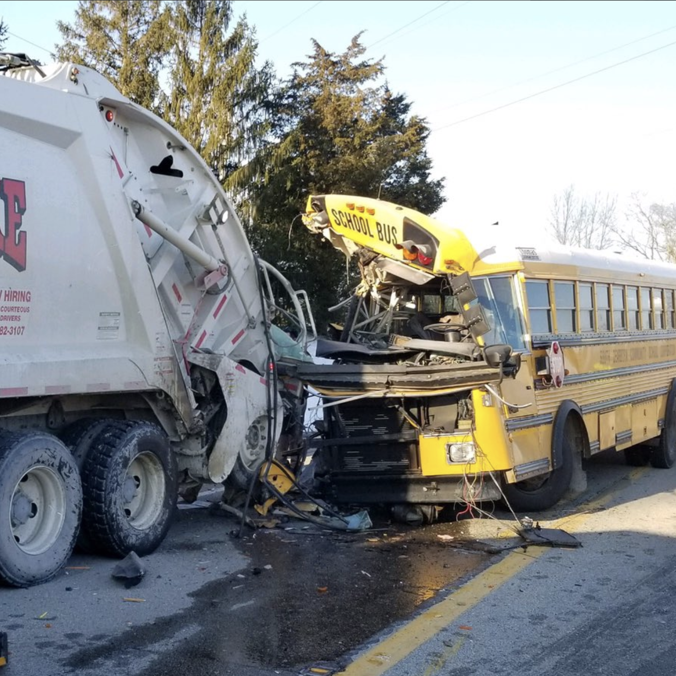 Dearborn County: 21 hurt in school bus crash with Rumpke truck