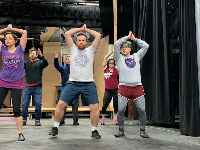"""Megan Archibald, John Sloan and Vincent Eldridge (from left) rehearse for the Loveland Stage Company production of """"The Drowsy Chaperone,"""" which opened March 1 and continues through March 17 at the theatre in Loveland."""
