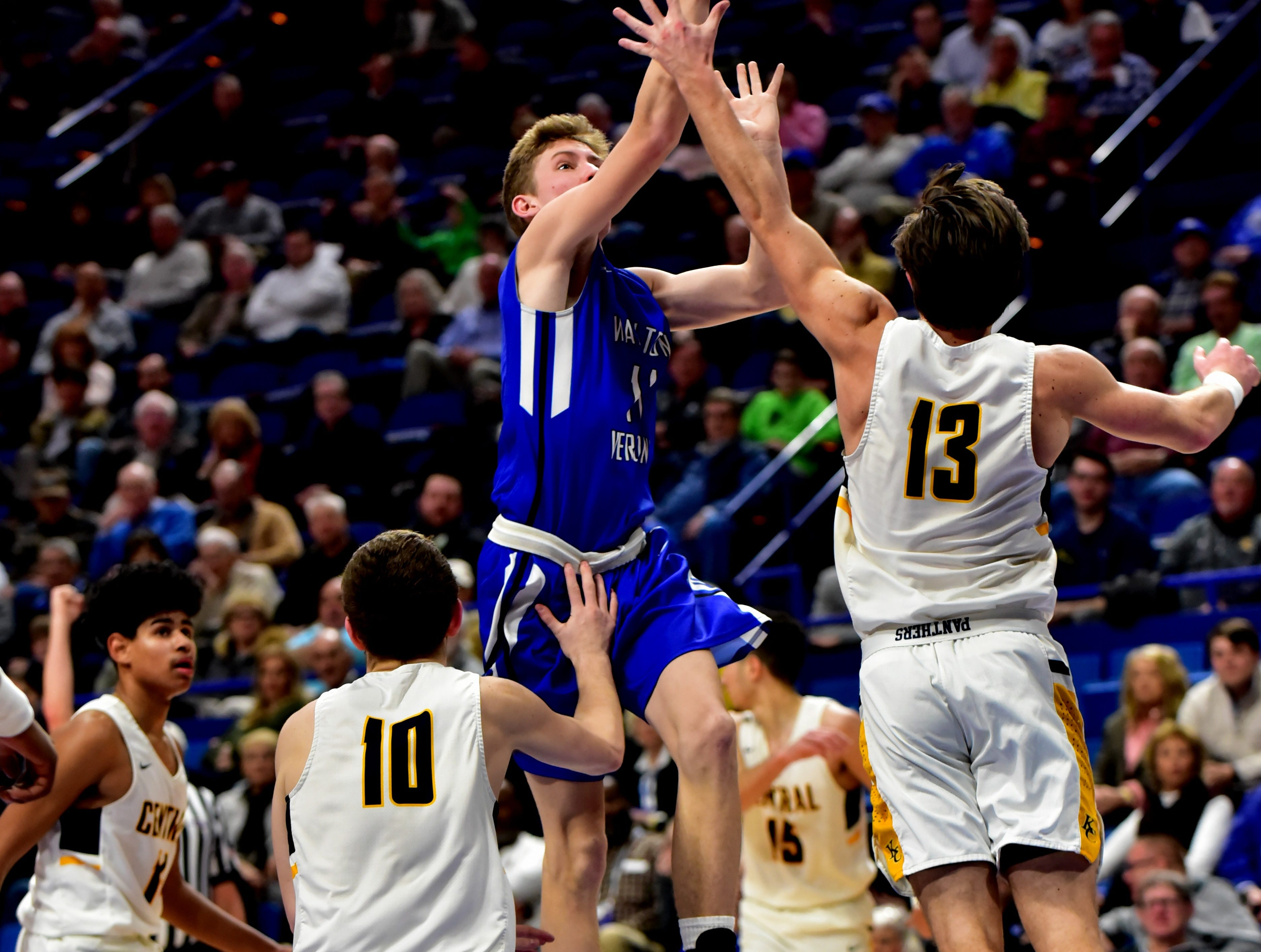 Trey Bonne (11) of Walton Verona drives the lane and scores with a layup for the Bearcats as they top Knox Central in round one at the KHSAA Sweet 16 Tournament at Rupp Arena in Lexington, KY, March 6, 2019