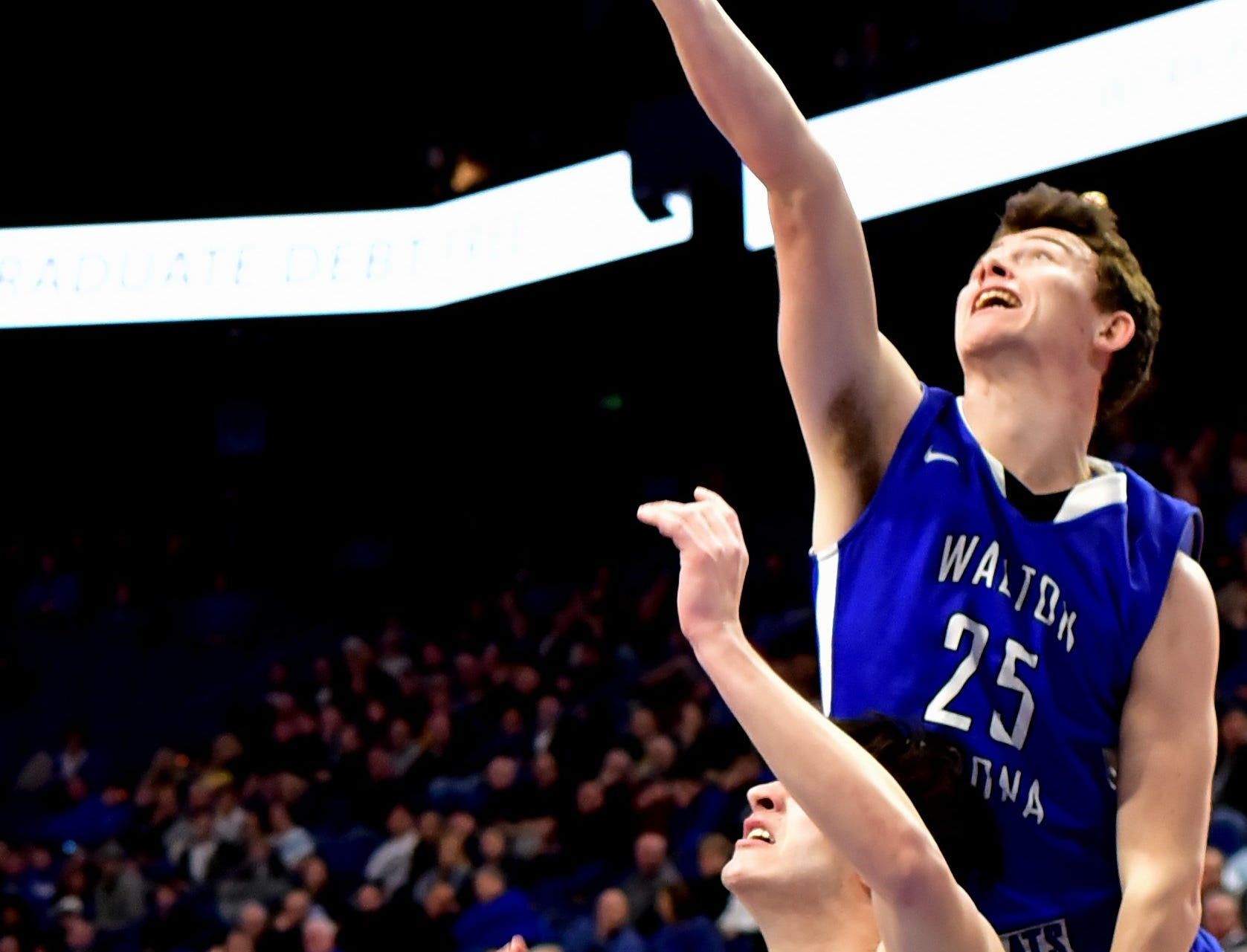 Walton Verona's Kameron Pardee (25) battles for a rebound at the KHSAA Sweet 16 Tournament at Rupp Arena in Lexington, KY, March 6, 2019