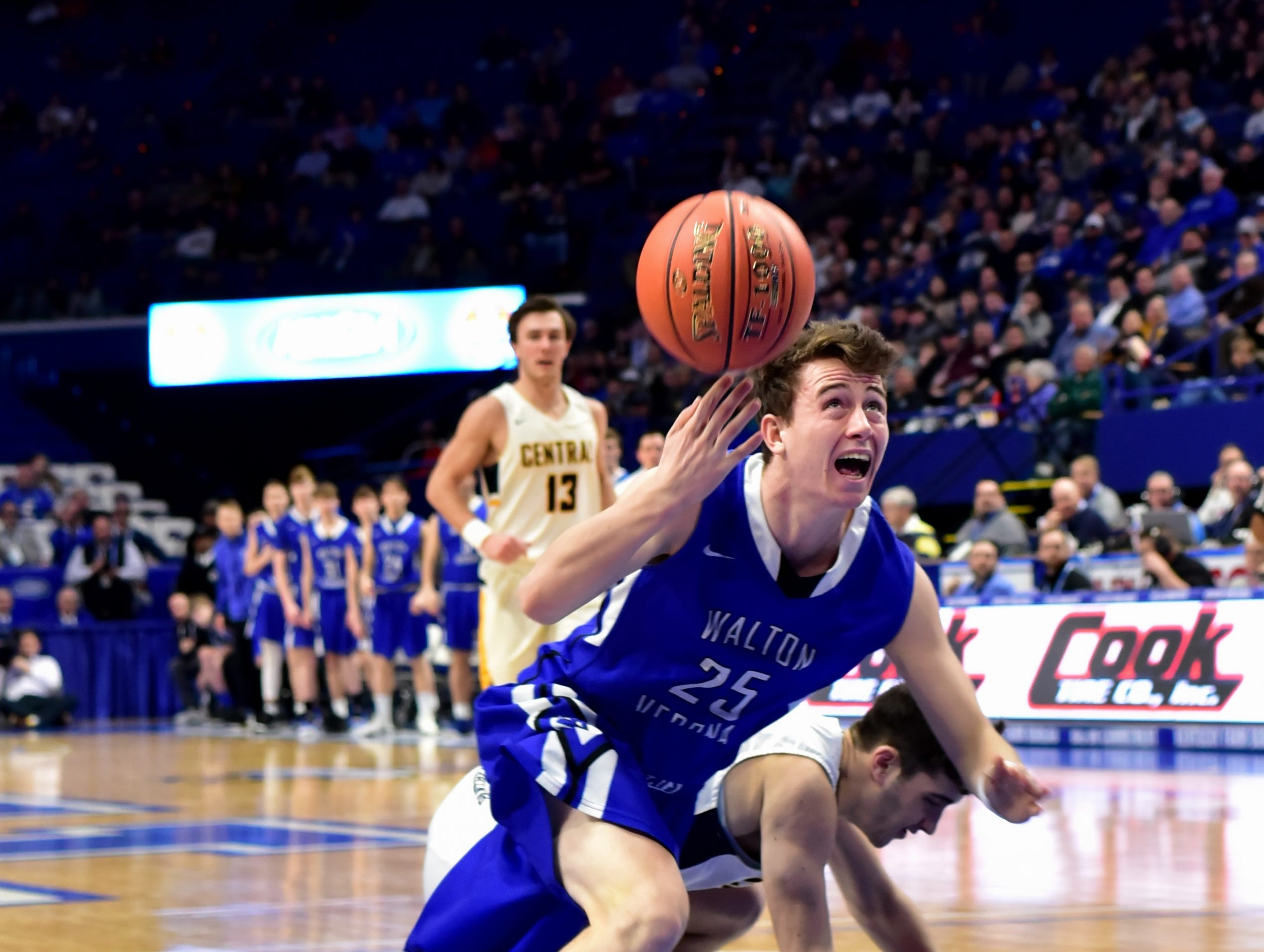 Kameron Pardee lifts up a shot off the floor and collects the foul for Walton Verona as the Bearcats advance at the KHSAA Sweet 16 Tournament at Rupp Arena in Lexington, KY, March 6, 2019