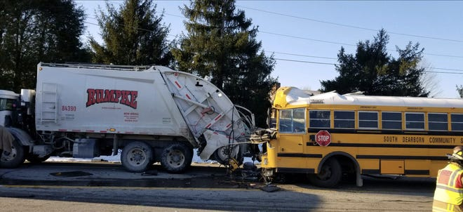 A school bus collided with a Rumpke truck on Indiana 350 near Aurora.  Some students were injured in the crash.