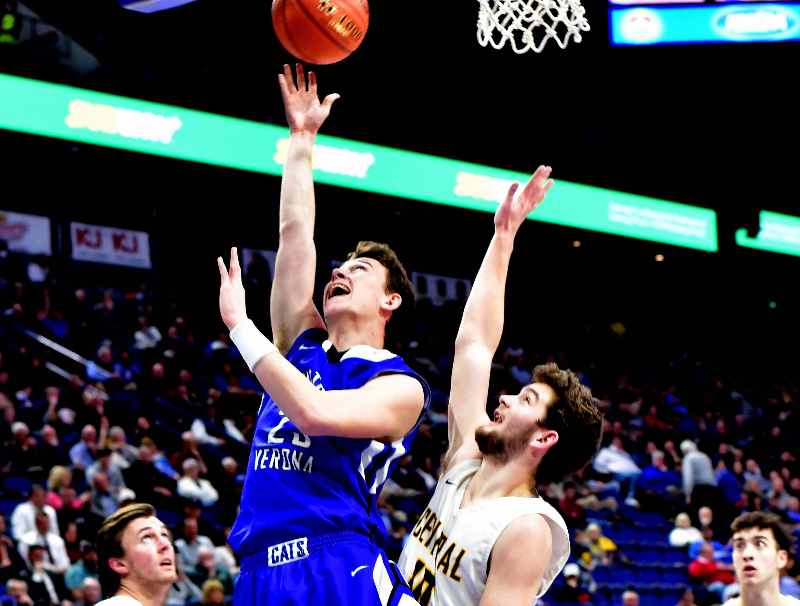Walton Verona's Bradt Smithers (23) puts back an offensive rebound for points at the KHSAA Sweet 16 Tournament at Rupp Arena in Lexington, KY, March 6, 2019