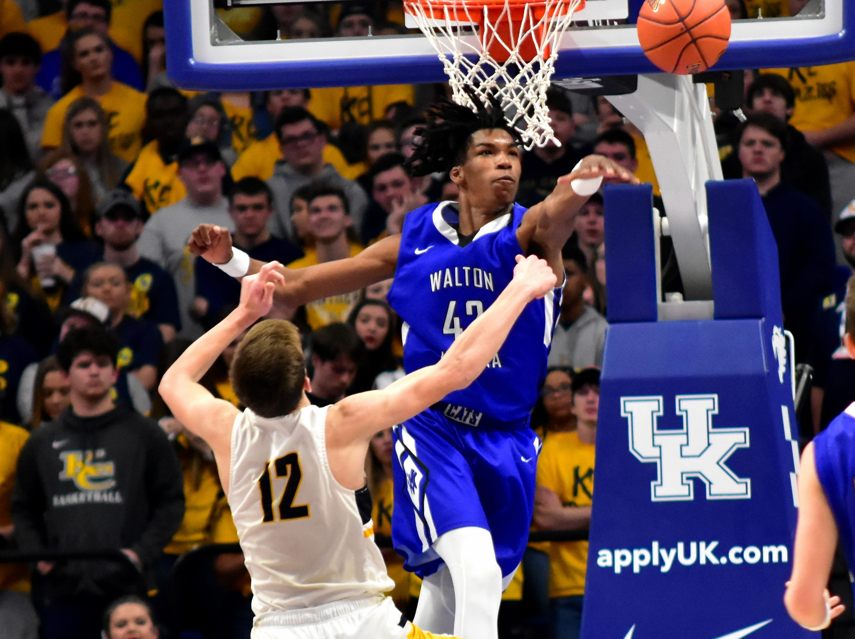 Dieonte Miles of Walton Verona rejects a Knox Central shot with authority at the KHSAA Sweet 16 Tournament at Rupp Arena in Lexington, KY, March 6, 2019