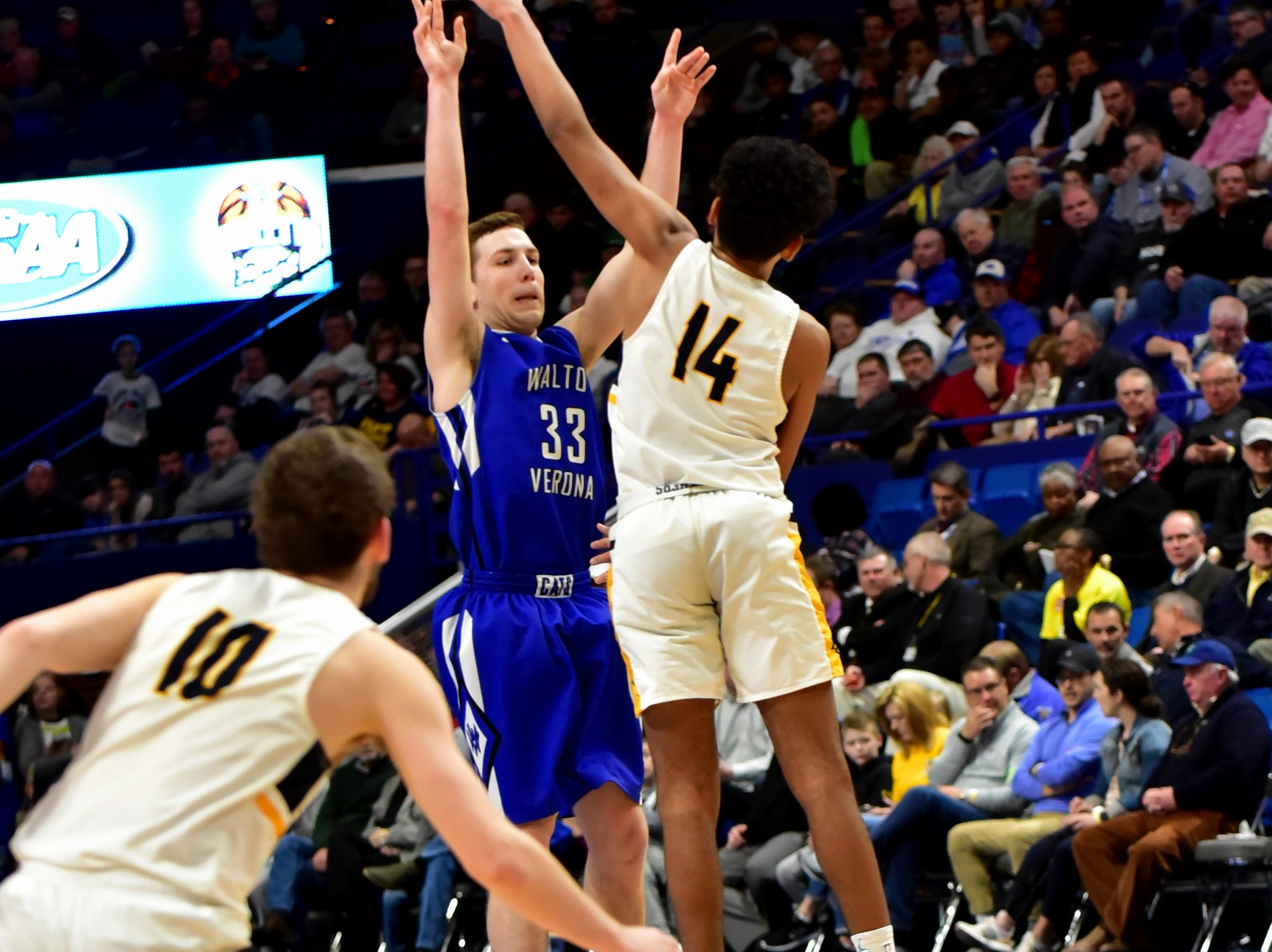 Grant Grubbs powers home a long range three pointer for Walton Verona at the KHSAA Sweet 16 Tournament at Rupp Arena in Lexington, KY, March 6, 2019