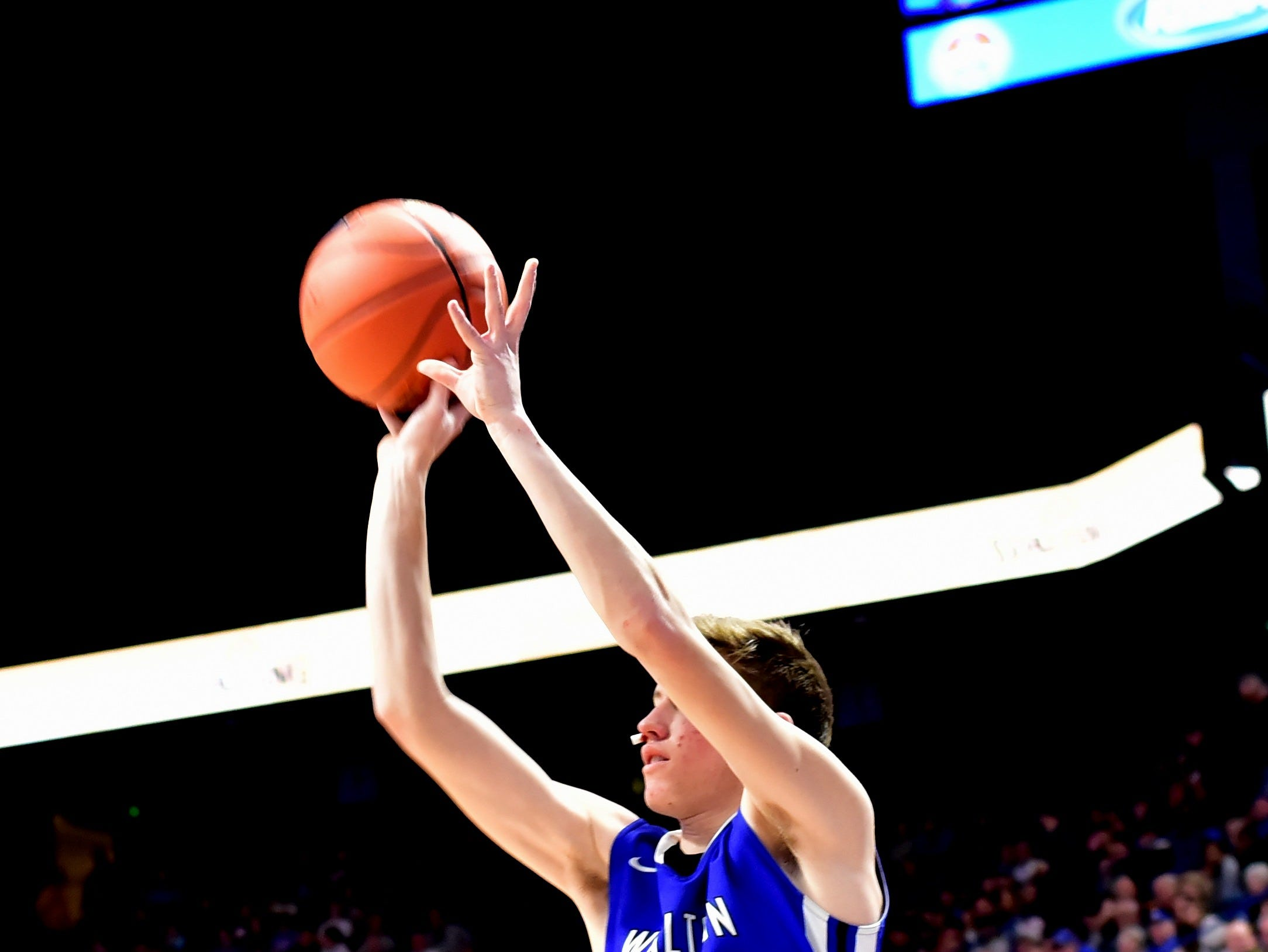 Walton Verona's Trey Bonne drains a three pointer for the Bearcats at the KHSAA Sweet 16 Tournament at Rupp Arena in Lexington, KY, March 6, 2019