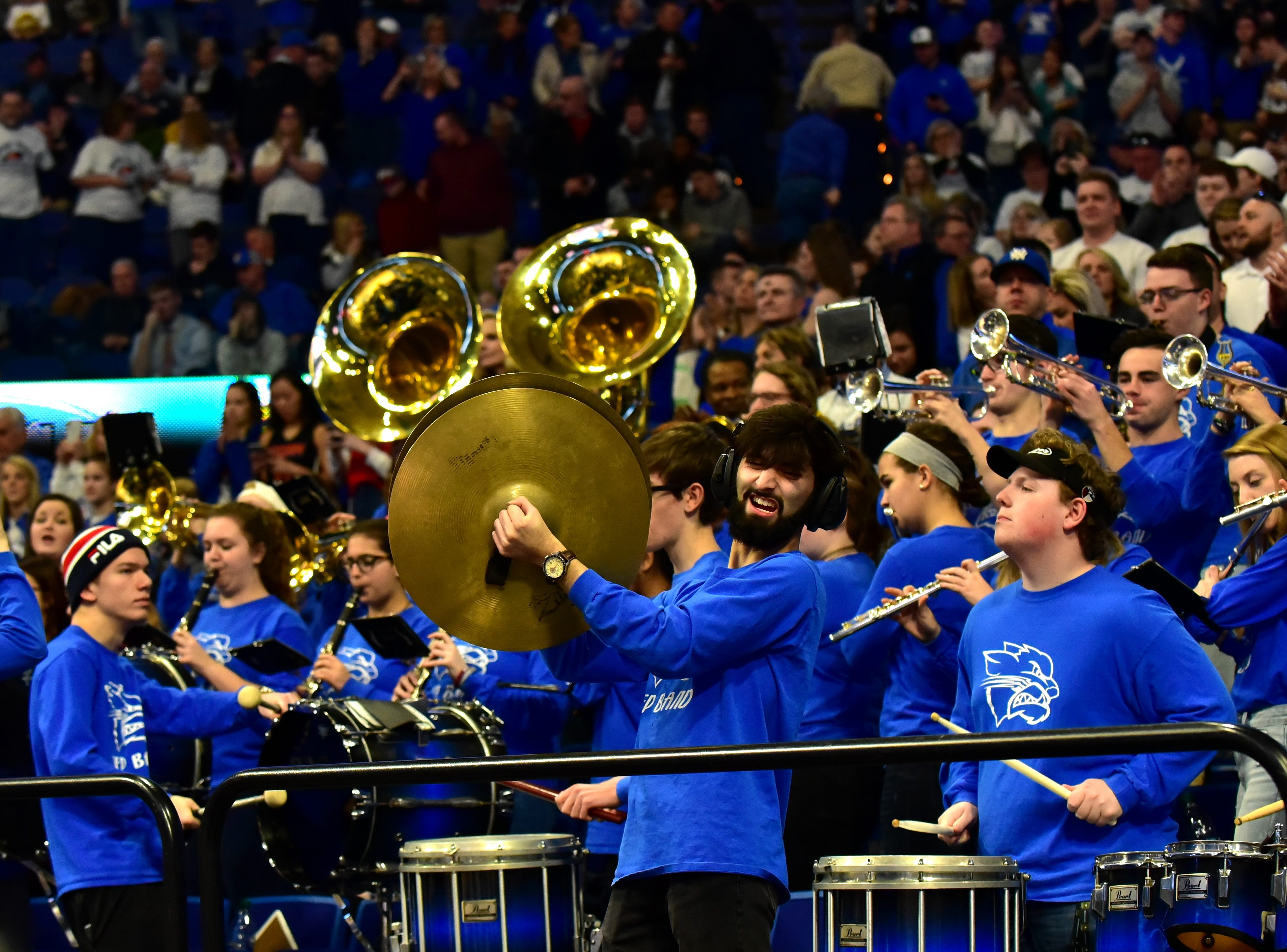 The Walton Verona band cheers the Bearcats back on the court for the final 3 minutes of play at the KHSAA Sweet 16 Tournament at Rupp Arena in Lexington, KY, March 6, 2019