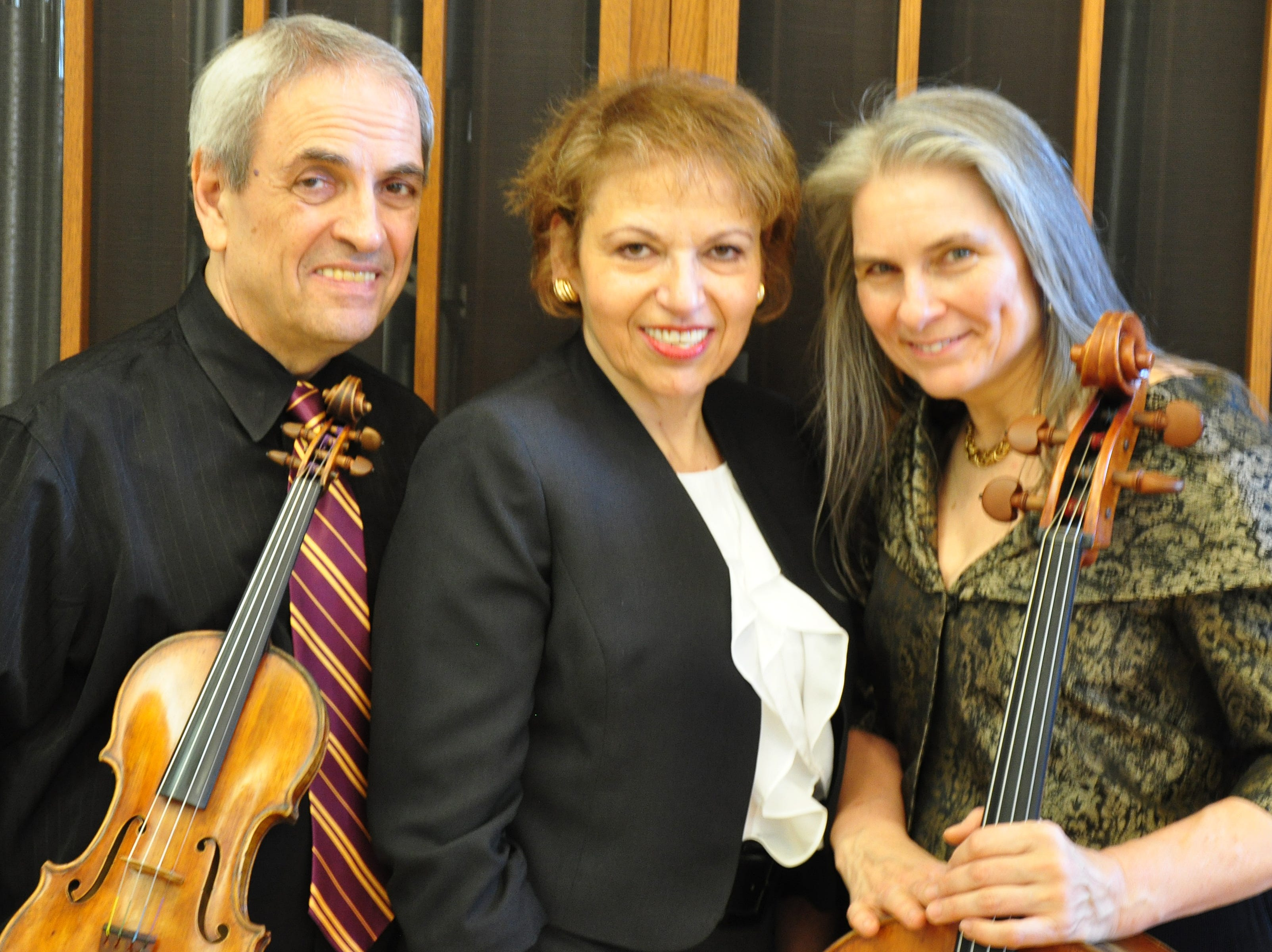 The Arcadian Trio, featuring (left to right) violinist Igor Szwec, pianist Diane Goldsmith, and cellist Vivian Barton Dozor.