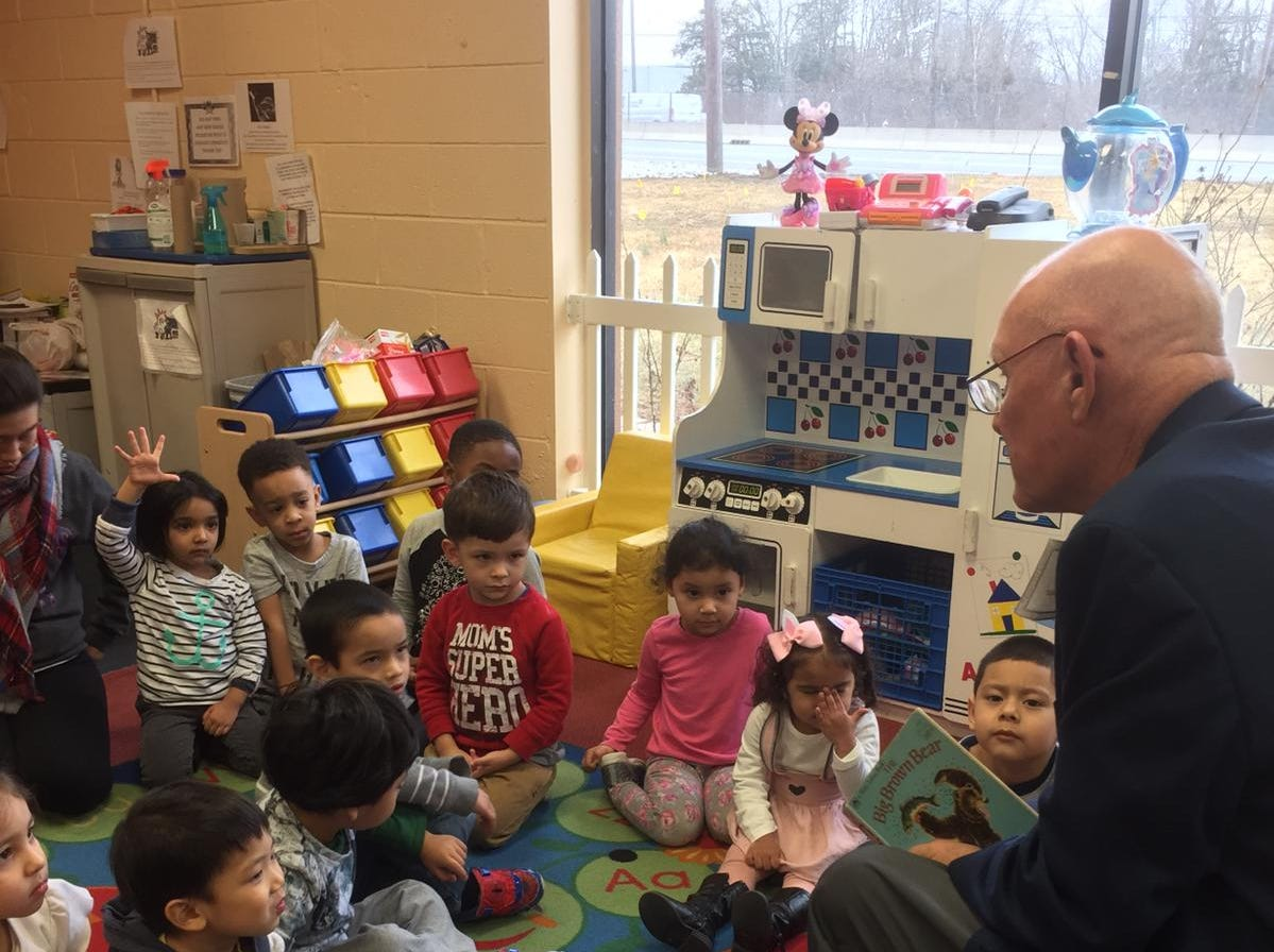 Mayor Dennis Sullivan read to the toddlers, preschoolers and pre-K students at Ellie's Academy of Somerville on Friday, March 1.