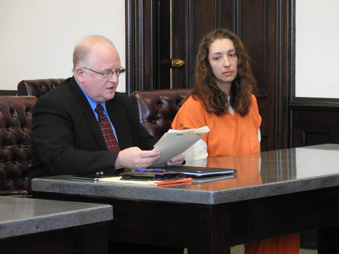 Attorney Jeffrey Mullen reads a letter fro his client, Jessica L. Kyle in Coshocton County Common Pleas Court. Kyle received 17 months in prison for two counts of aggravated trafficking in drugs relating to methamphetamine.