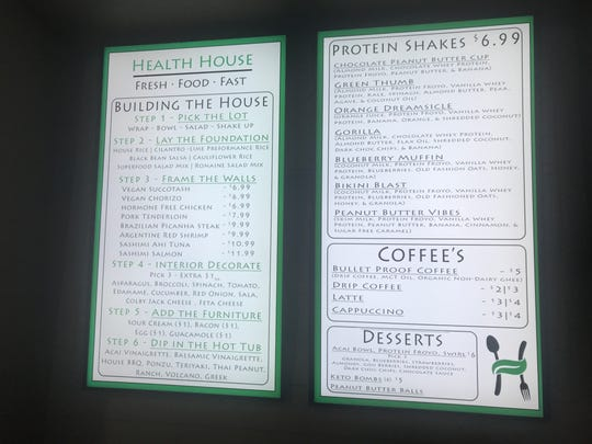 The menu at Health House has plenty of options for healthy eating and drinking.