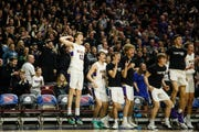 The Waukee bench celebrates during their boys 4A state basketball tournament game on Wednesday, March 6, 2019 in Des Moines. Waukee would go on to defeat Dowling Catholic 48-35.