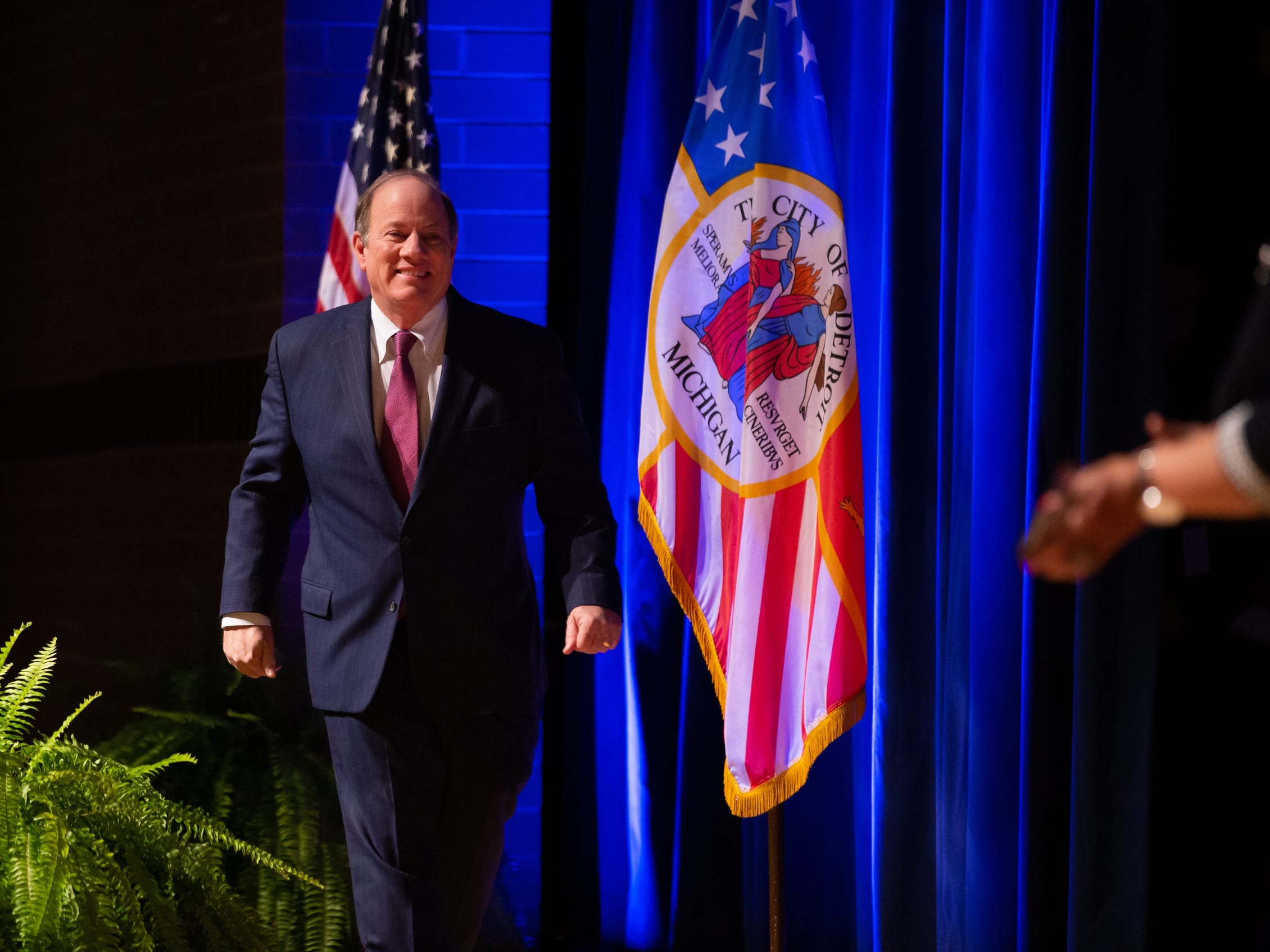 Detroit Mayor Mike Duggan takes the stage to speak during the 2019 State of the City Address on Tuesday, March 5, 2019 at East English Village Preparatory Academy in Detroit.