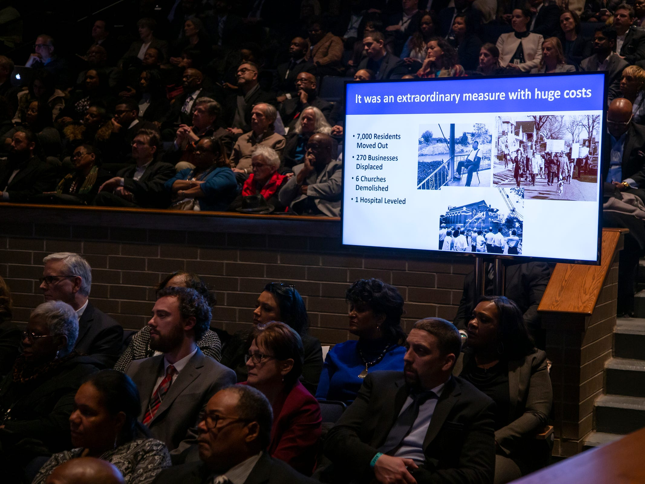 Crowd listens as Detroit Mayor Mike Duggan speaks during the 2019 State of the City Address on Tuesday, March 5, 2019 at East English Village Preparatory Academy in Detroit.