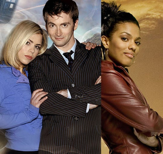 "David Tennant (middle) and Freema Agyeman (right) of the ""Doctor Who"" series will appear at 2019 Motor City Comic Con. Billie Piper (left), was originally scheduled to appear, but has canceled her visit to the 2019 event."